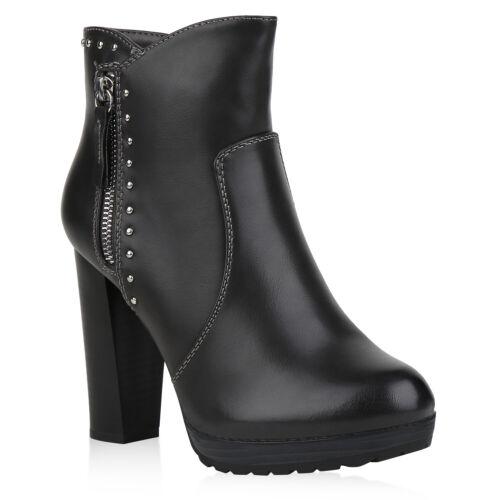 Damen Stiefeletten High Heel Boots Gefüttert Schuhe 823711 Trendy Neu