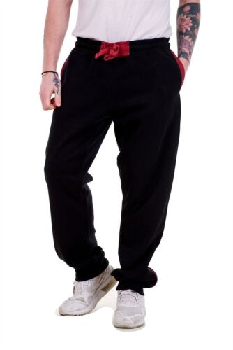 Mens Fleece Jogger Elasticated Pockets Ribbed Casual Pants Black Grey M to XXL