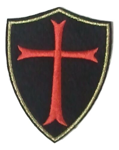 "Chevaliers Templiers Croix rouge avec bordure dorée 3/"" X 2.5/"" iron on patch badge C30"