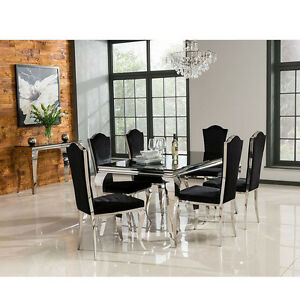 Image Is Loading Louis Dining Table Set With Chairs Black Stainless  Part 63