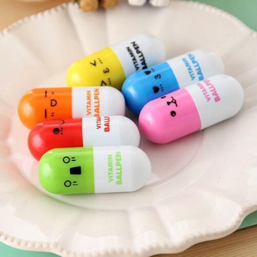 18X Vitamin Pill Pen Ballpoint Ball Mini Face Capsule Point Smiling Novelty Pens