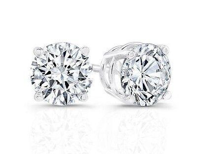 1.5 CARATS MAN MADE DIAMOND FLAWLESS BRILLIANT CUT ROUND STUD PLATINUM EARRINGS