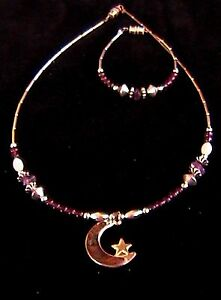 Native American Navajo Sterling Moon & Rose Star Necklace & Bracelet by D Little