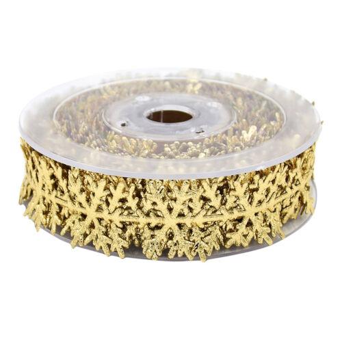 10m Gold Snowflake Vine Lace Sewing Ribbon Trim Christmas Xmas Decoration