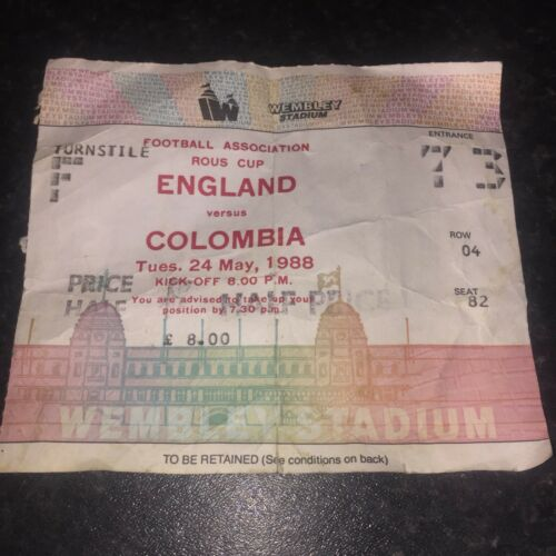 24 May 1988 Football Ticket Stub Wembley Stadium FA Rous Cup England v Columbia