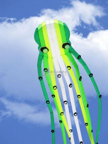 3D eyes 15m CT green 1 Line Stunt Parafoil Octopus POWER Sport Kite outdoor toy
