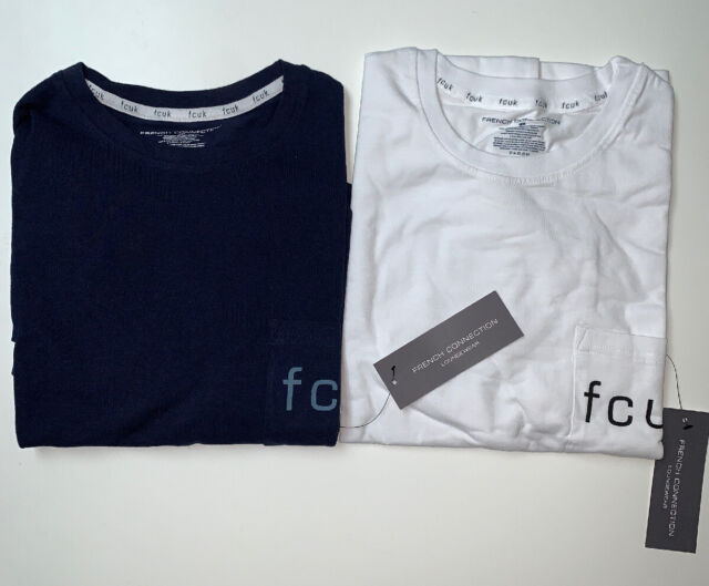 M MEDIUM $28 FCUK FRENCH CONNECTION NWT WOMENS WHITE FCUK IT T SHIRT SIZE