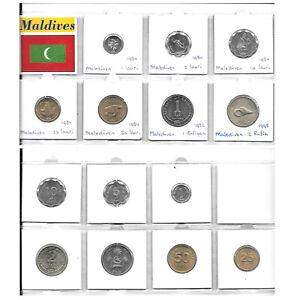 MALDIVE ISLANDS COLLECTION OF 7 UNC COINS 1 LAARI - 2 RUFIA 1982-1995 1T8