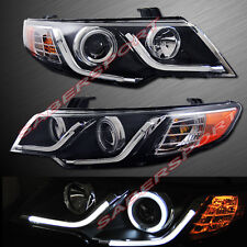 BLACK CCFL HALO PROJECTOR HEADLIGHTS w/LED BAR V2 FOR 2010-2013 KIA FORTE KOUP