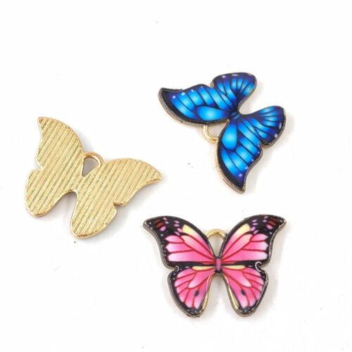 10 pcs Assorted Metal Gold Enamel Beautiful Butterflies Pendants Charms 22x16mm