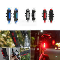 Cycling Bicycle Bike 5 LED Head Front Rear USB Rechargeable Tail Light Lamp