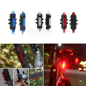 5 LED USB Rechargeable Bike Bicycle Cycling Tail Rear Safety Warning Light Lamps