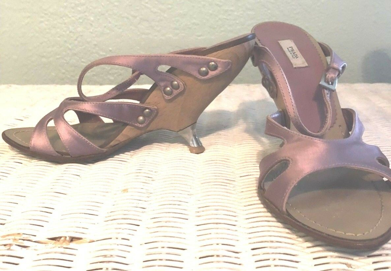 Vintage Prada Silk Wood Wedge Sandals 38.5 or 8