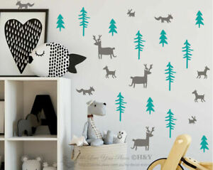 Forest Jungle Animals Trees Nursery Wall Stickers For Kids Decal Home Decor Art