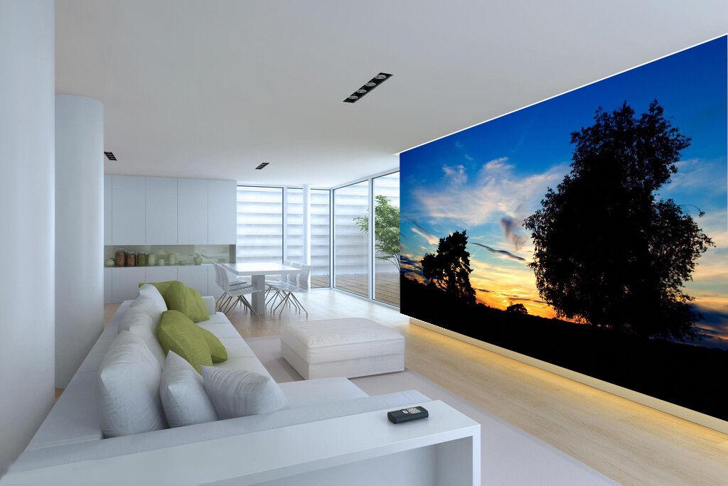 3D Albero Scuro 3 Parete Murale Foto Carta da parati immagine sfondo muro stampa