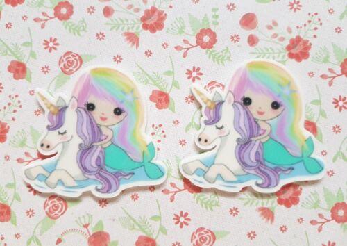 2 X Large Licorne Sirène Flatback Planes Résine Embellissement craft hair bow UK