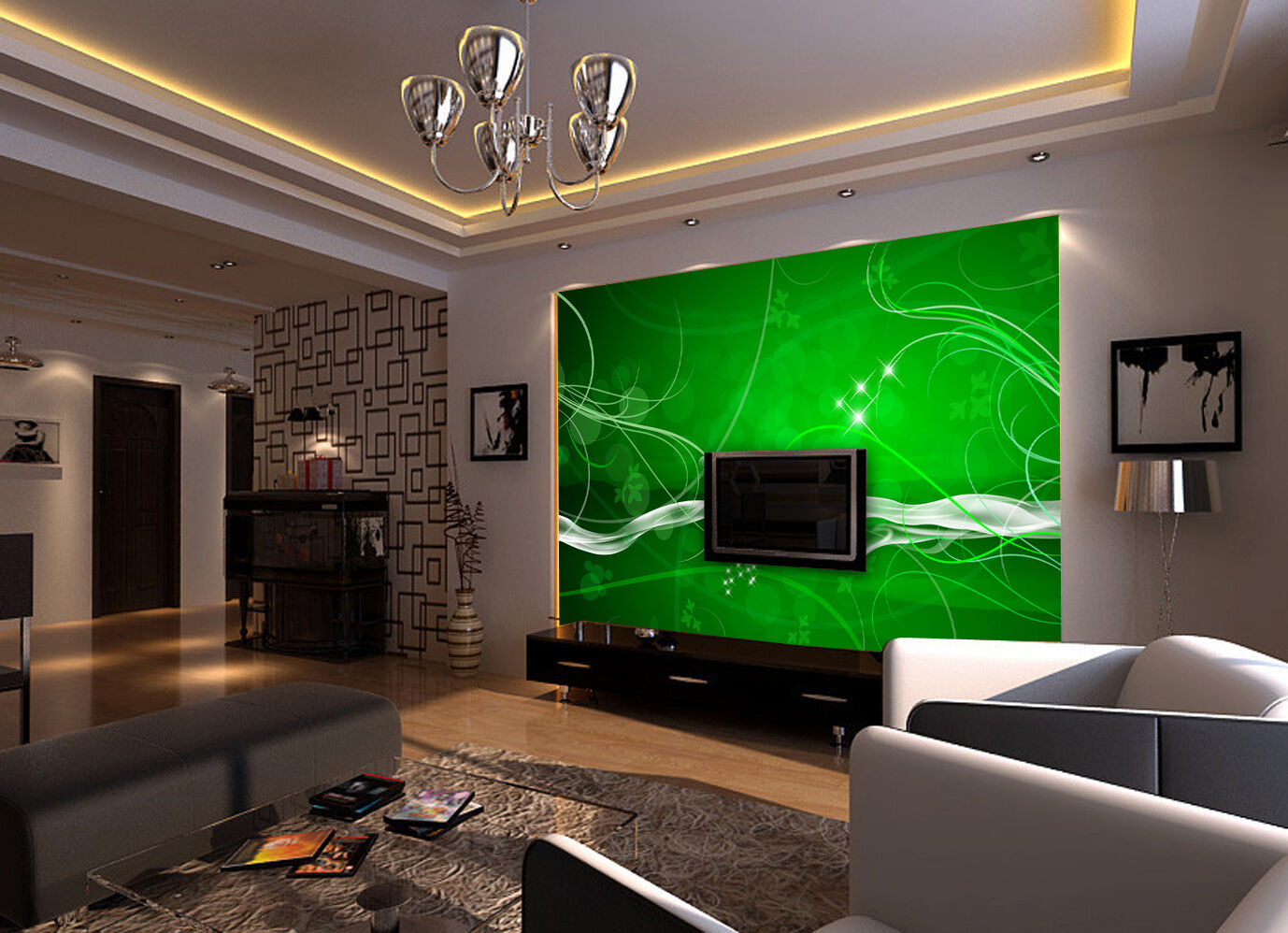 3D Grün curves 25 WallPaper Murals Wall Print Decal Wall Deco AJ WALLPAPER