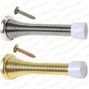 CHROME-BRASS-SPRING-DOOR-STOPS-STOPPER-SILVER-GOLD-1-2-5-10-Packs-Spiral-Buffer