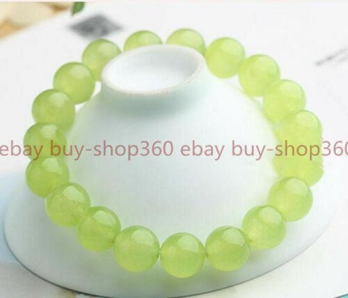 "10 mm NATURAL Green Peridot Gemstone Round Beads Stretch Bracelet Jonc 7.5/"""