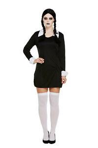Adult Addams Family Wednesday Adams Ladies Womens Halloween Fancy Dress Costume