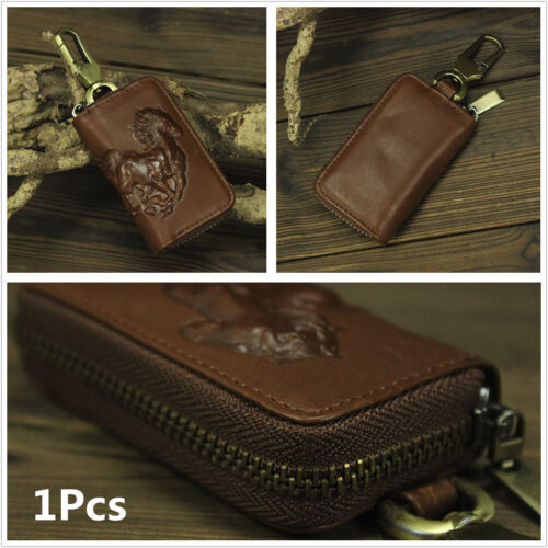 Genuine Leather Car Key Wallet Men Key Keychain Covers Zipper Key Case Bag Pouch