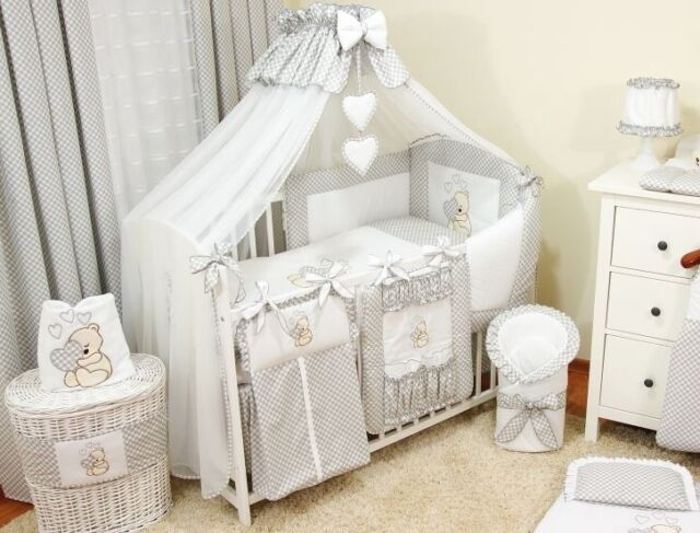 LUXURY BABY NURSERY 3PCS BEDDING SET BUMPER PILLOW DUVET FIT COTBED 140x70cm