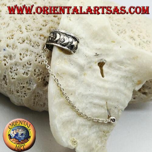 Orecchino Ear Cuff in Argento 925‰ con catenella lune e fiori in altorilievo