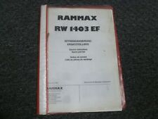 Rammax Rw1403ef Trench Roller Compactor Parts Catalog Amp Owner Operator Manual