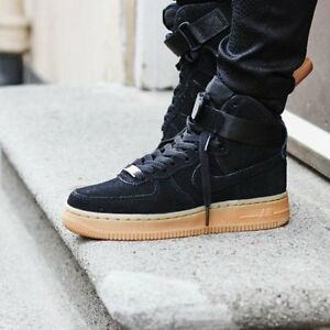 detailed look 55d1e 3346b Image is loading Nike-Air-Force-1-High-Black-Suede-Gum-