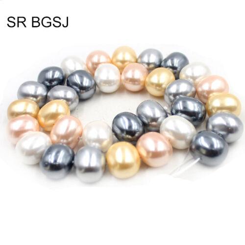 "Natural 15x12mm feeform forma de huevo mezclado Shell Perlas Piedras Preciosas Strand 15/"""