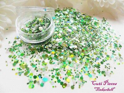 Nailart *tinkerbell* Silver Green Holographic Hexagon Chunky Mix Glitter Tip Pot