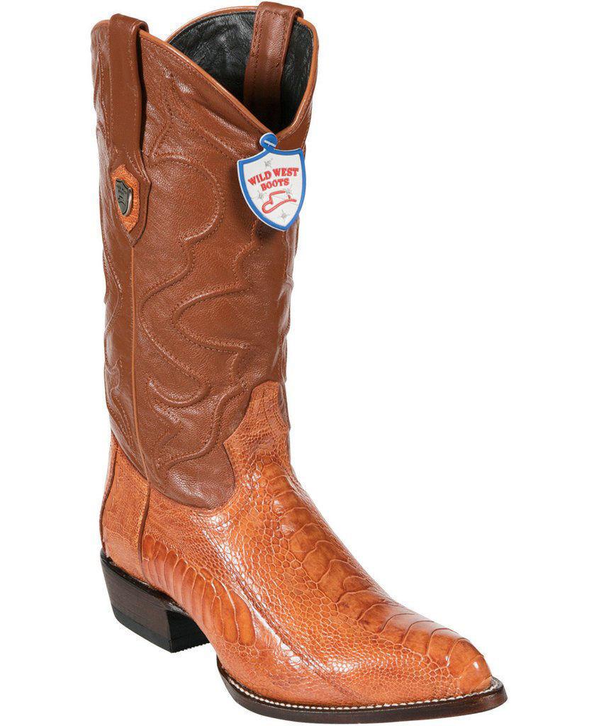Wild West Genuine Cognac Ostrich Leg Cowboy Western Boots J Toe Handmade D