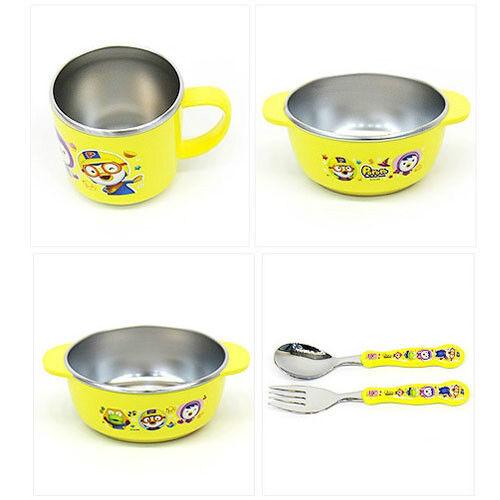 Pororo stainless cutlery set / Pororo bowl cup spoon fork 5P set (free standard)