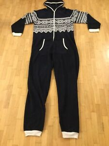 Mens-Fleece-All-In-One-Sleep-Loungewear-Primark-Navy-Nordic-Size-XS-S