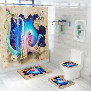 Octopus-Bathroom-Rug-Set-Shower-Curtain-Non-Slip-Toilet-Seat-Lid-Cover-Bath-Mat