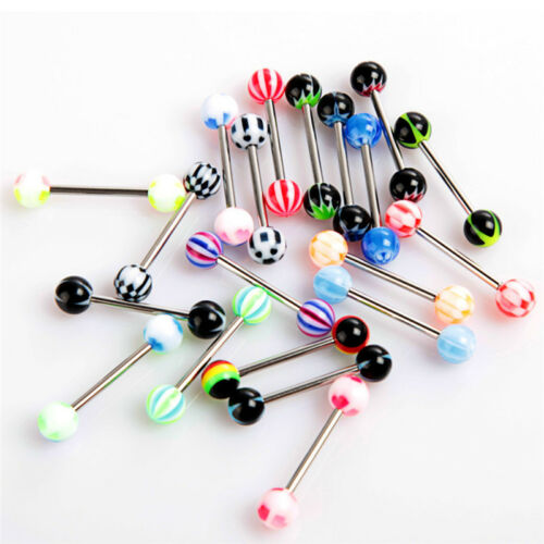 20//50//100PCS Tongue Bars Surgical Steel Barbell Rings Ball Body Piercing  FY.dr
