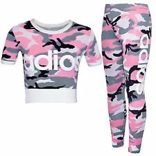 33d01d4a107ee4 Girls Kids Adios Camouflage Tracksuit Children s Crop Top Leggings Set Age  ...