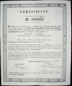 Certfikaat-of-Bank-der-Vereenigte-Staten-van-America-Amsterdam-1844-unc-coupons
