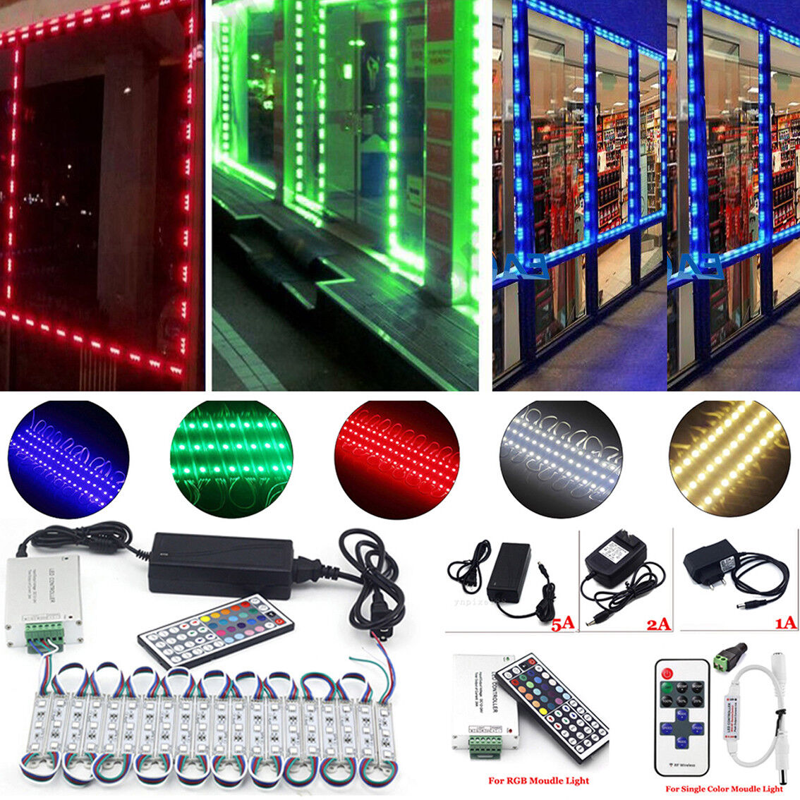 10~100FT 5050 SMD 3 LED STORE FRONT Window Light Module+US p