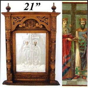 """Antico Russo Intagliato a Mano 21 """" Cofanetto Stile Icon per Cornici,Silver Foil"""