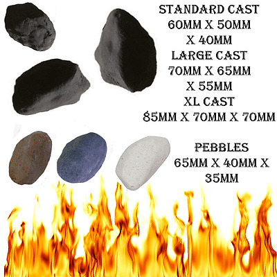 10 MIXED GAS FIRE REPLACEMENT PEBBLES COALS STONES 60MMX 40 X 35MM RCF CERTIFIED
