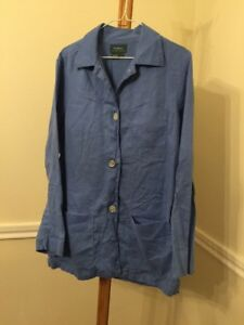 Lauren-Ralph-Lauren-Womens-Large-Blue-100-Linen-Button-Front-Blazer-Jacket