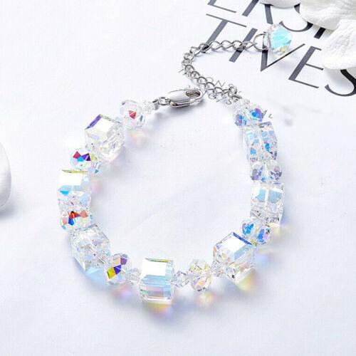 Bg /_ Damen Anhänger Kunst Würfel Quarz Perlen Klar Armreif Schmuck Geschenk