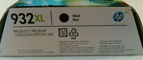 New in box HP OFFICEJET 932XL BLACK INK CARTRIDGE 932 XL OEM Authentic Genuine