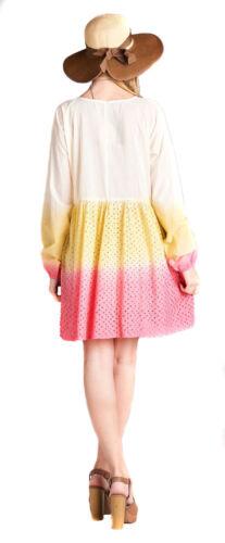 VELEZRA Womens Plus Ombre Tie Dye Eyelet Woven Long Sleeve Tunic Dress 1X 2X 3X