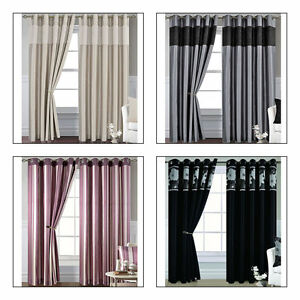 Living room bedroom lined eyelet curtains gold silver - Black and gold living room curtains ...