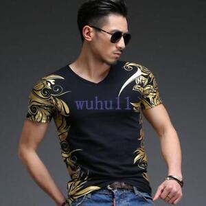 Men-039-s-Tops-Tees-Short-Sleeve-V-neck-Geometric-Gold-Print-Slim-Fit-T-Shirt-Solid
