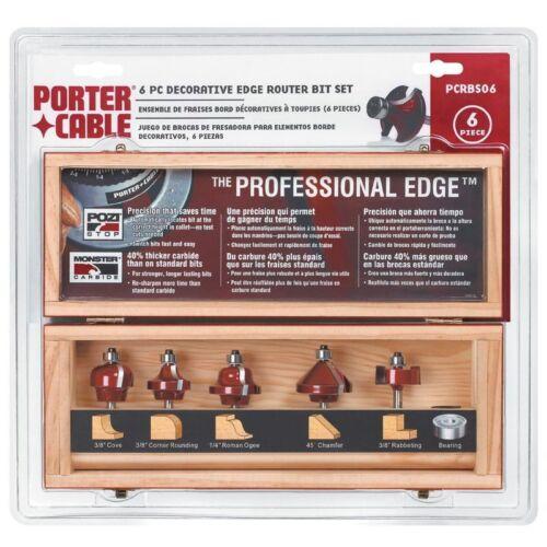 Porter-Cable PCRBS06 Pro Decorative Edge Router Bit Set 6-Piece