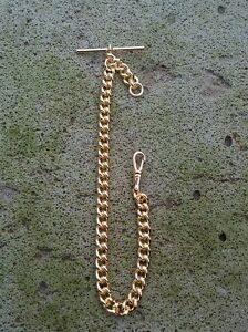 Pocket-Watch-Chain-9ct-Gold-Plated-Single-Curb-Fob-Albert-28-Gram-Wedding-Groom