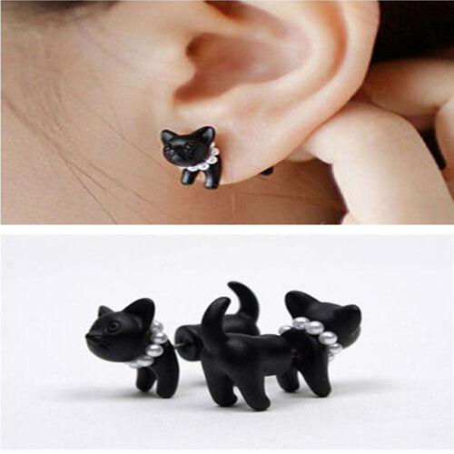 1pc Cool Black Pearl Fun Cat Ear Stud Womens Mens Punk Vintage Piercing Earring Ebay